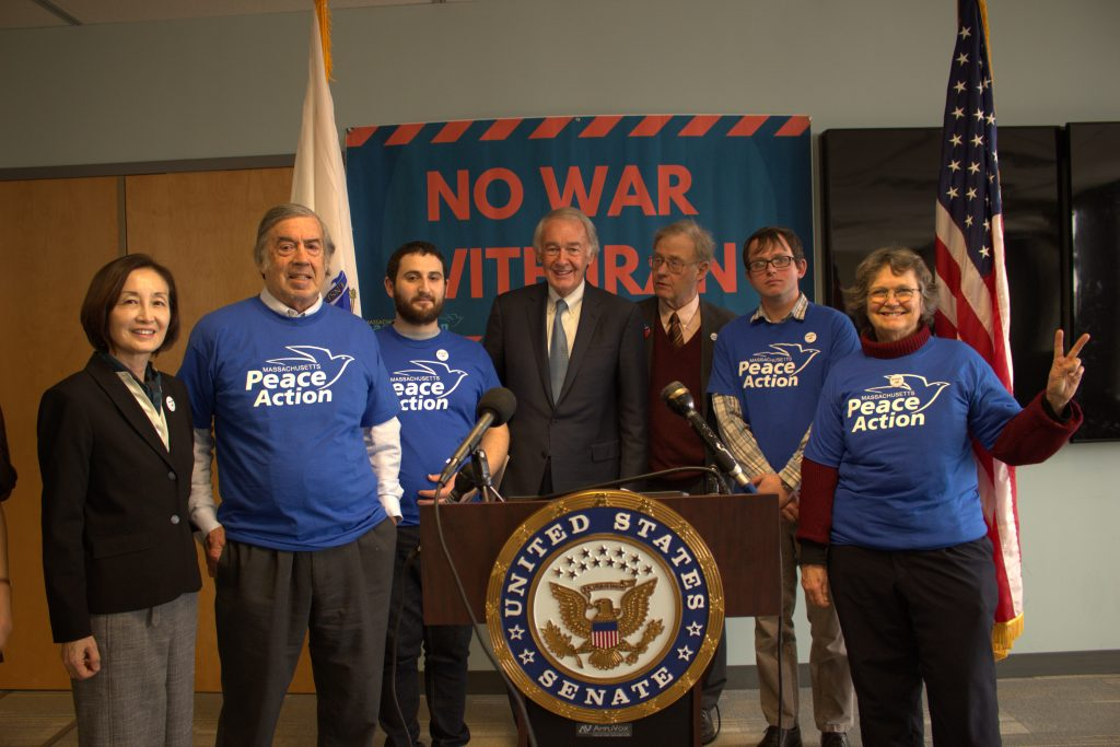 Ed standing with members of Mass Peace Action