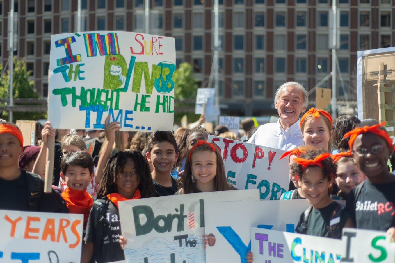 Ed at a climate march with young students